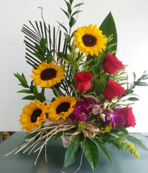 Birthday Sunflowers and Red Roses floral arrangement