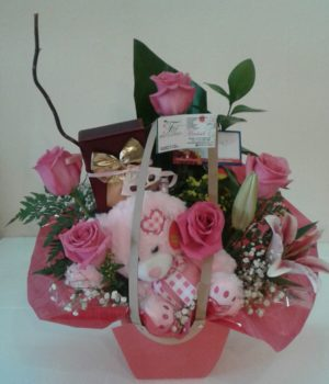Pink Love Teddy birthday just because flowers flores sxm st maarten arrangements (3)
