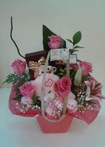 Pink Love Teddy birthday just because flowers flores sxm st maarten arrangements (3)