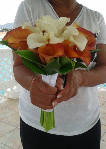 Mango and white Calla lillies