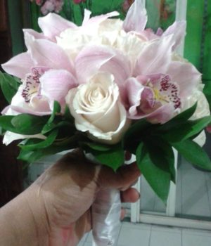 White Roses and Pink Cimbidium Orchids Bridal